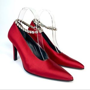 YSL satin pointed toe rhinestone ankle pumps 7.5